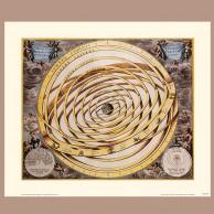 Mapa orbit planet otaczających Ziemię wg Ptolemeusza, A. Cellarius, 1660 r.