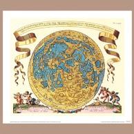 Mapa widocznej hemisfery Księżyca wg Selenografii J. Heweliusza, 1647 r.