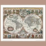 Mapa Świata, N. Visscher, 1652 r.