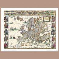 Mapa Europy, W. Blaeu, 1617 r.