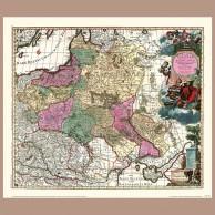 Mapa Królestwa Polskiego i Wielkiego Księstwa Litewskiego, C. Allard, 1696 r.