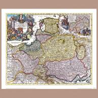 Mapa Polski, Litwy, Prus i Pomorza, P. Schenk I, 1711 r.